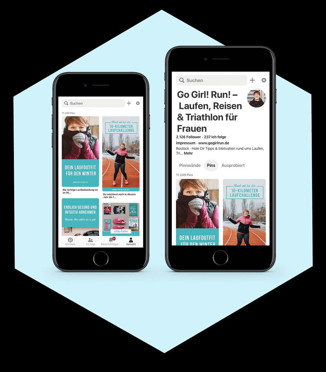 Social Media Design: Pinterest Pins für Go! Girl Run!