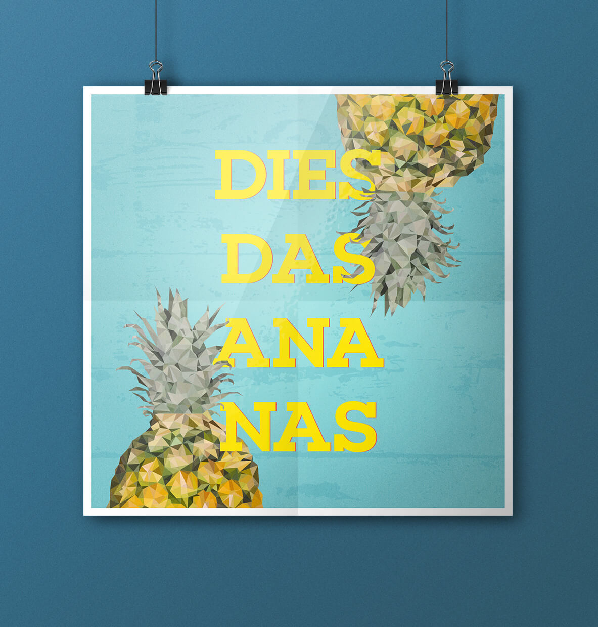 Posterdesign: digitale Low-Poly Illustration für ein Ananas Poster