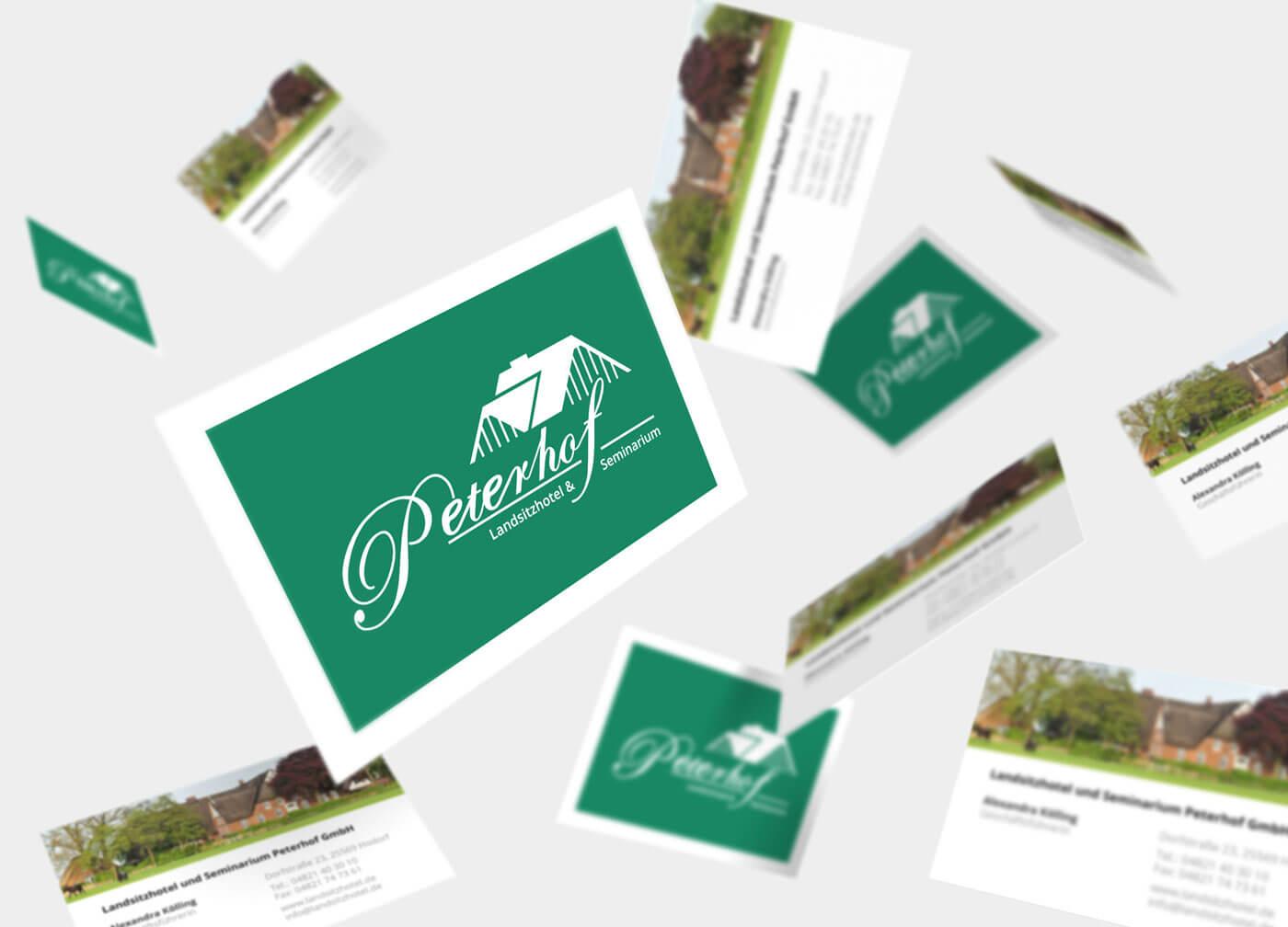 """Visitenkarte Design für das Hotel """"Peterhof Landsitzhotel und Seminarium"""""""
