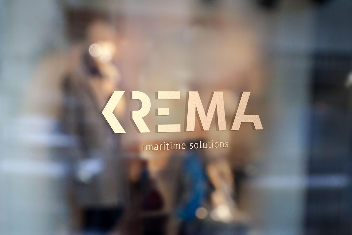 Logo mit Goldfolie für das Luxus-Yachtunternehmen Krema
